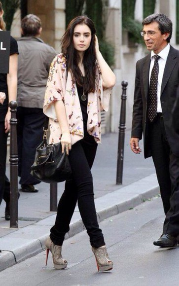 lily collins blouse bag shoes