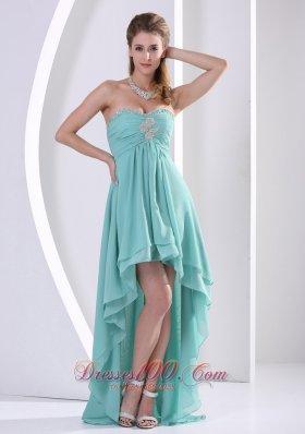 Prom Holiday Dress High-low Turquoise Beading Chiffon Layers - US$148.67