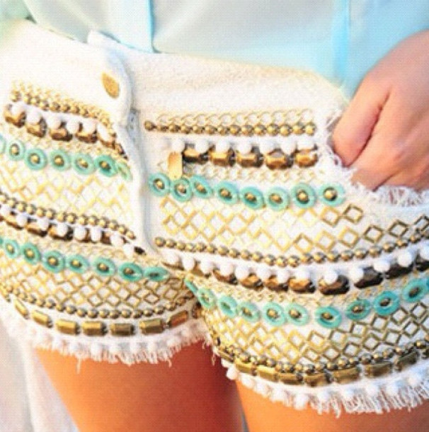 shorts white gold design embellished white shorts denim shorts beaded blue summer cute shorts Sequin shorts blanc