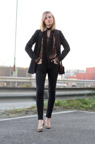 leopard print top the fashion eaters blogger jeans jacket bag leopard print high heels scarf