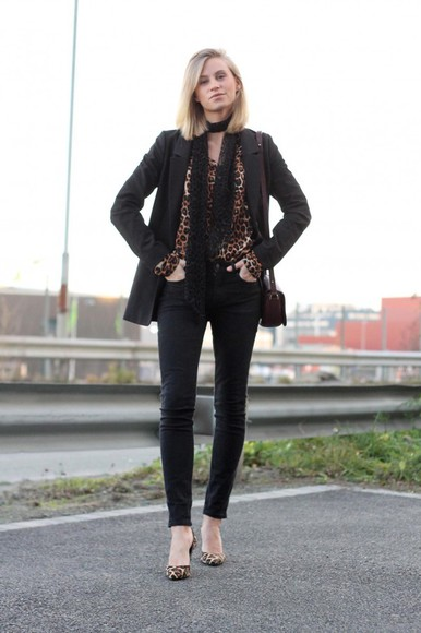 leopard print the fashion eaters blogger jeans jacket bag top leopard print high heels scarf