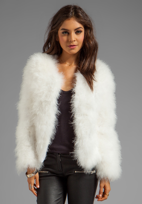 LINE & DOT Marabou Faux Fur Jacket in White at Revolve Clothing - Free Shipping!