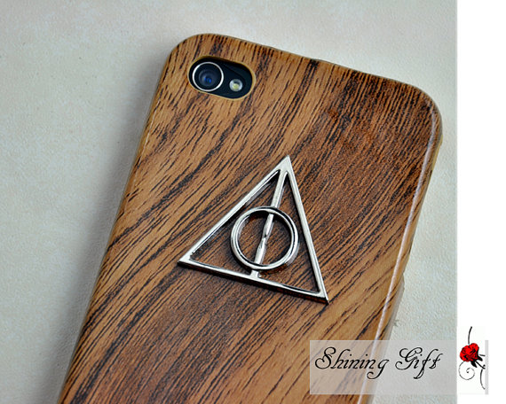 Wooden iphone case cover with deathly hallows by myshininggift