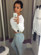 white,white crop tops,knitwear,jeans,denim,outfit,tights,underwear,top,make-up,blouse,sweater,pants,shirt