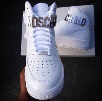 shoes moschino sneakers white white shoes white sneakers high top sneakers trainers nike air force 1 nike