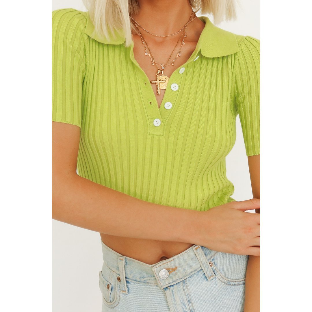 VG New Darling Button Front Knit Top // Lime
