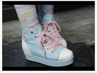shoes pink light blue blue platform shoes wedge sneakers wedges wedge heel shoelaces cute kawaii pastel pink pastel pastel blue sneakers high top sneakers platform sneakers flatforms pastel sneakers