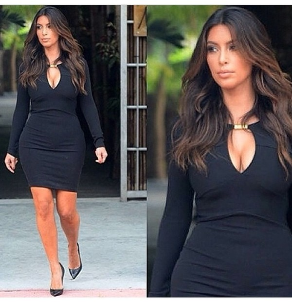 dress black dress kim kardashian dress bodycon summer dress evening outfits kim kardashian black black dress