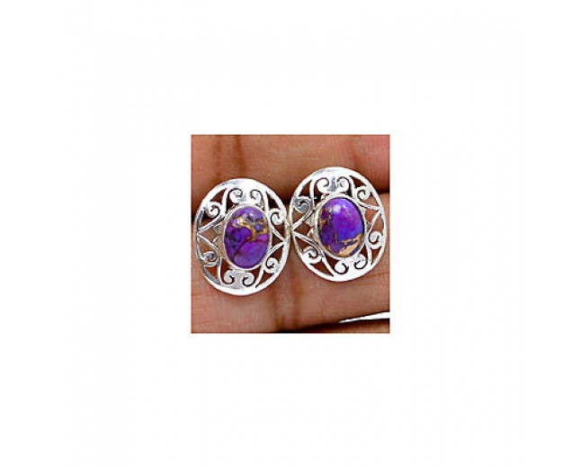 Genuine 925 sterling silver Gemstone Purple Copper Turquoise Stud