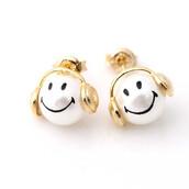 jewels,jewelry,stud earrings,pearl earrings,smile earrings,smile face