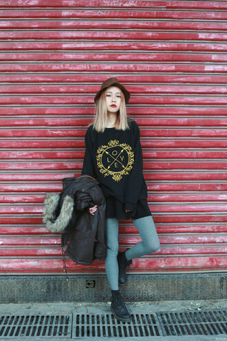 sweater black print asian fashion