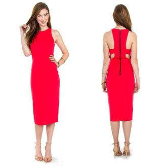 dress coral cut-out backless racer back midi party outfits date