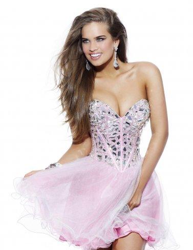Pink strapless sherri hill 1403 rhinestone top cocktail dress [pink strapless sherri hill 1403]