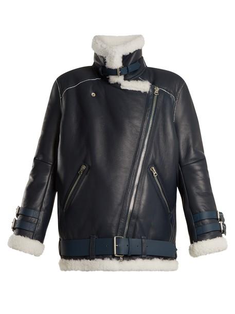 Acne Studios jacket shearling jacket oversized white blue