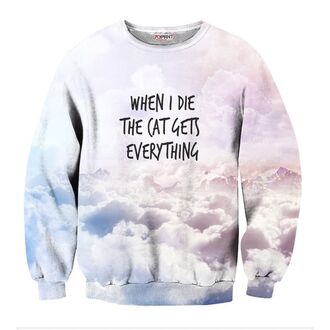 sweater pastel pale kawaii pink blue clouds sky top sweatshirt 3d sweatshirts crewneck jumper