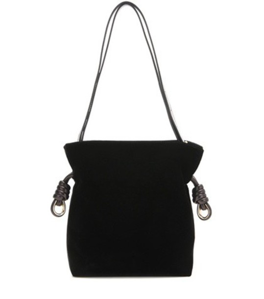 Loewe Flamenco Knot Velvet Shoulder Bag in black
