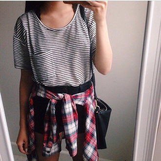 t-shirt shirt flannel flannel shirt stripes black and white blouse plaid