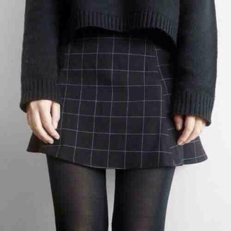 skirt black squares pattern check mini cute cool tumblr teenagers girl 90s style grunge retro vintage goth hardcore