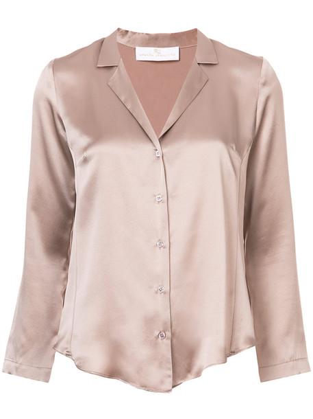 Amanda Uprichard shirt women nude silk top