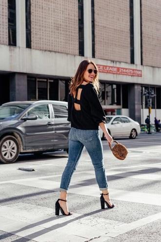 sweater black sweater backless sweater bag open back jeans denim blue jeans sandals sandal heels