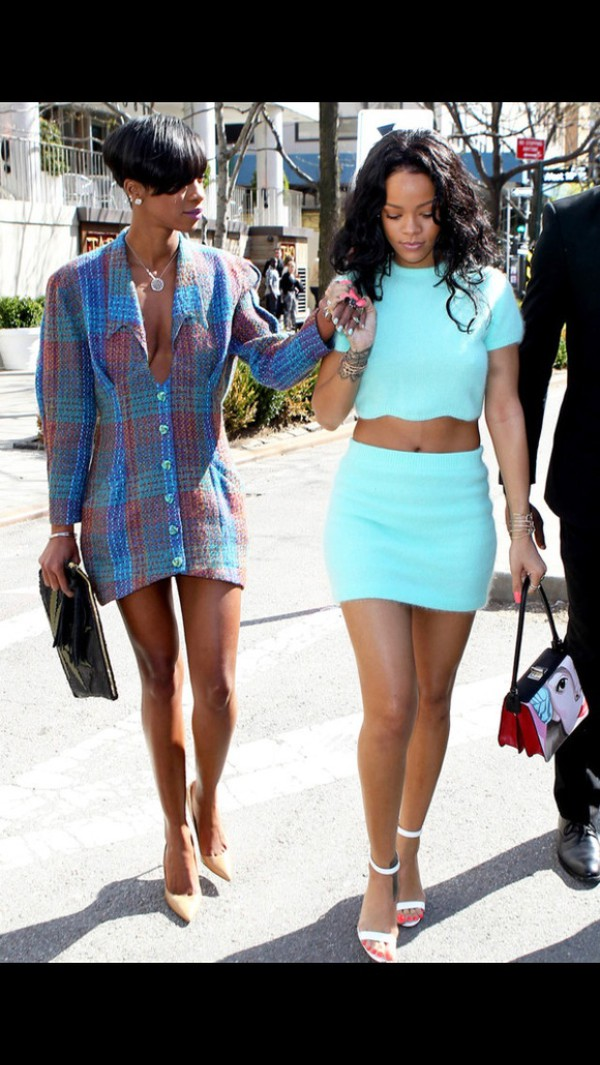 top rihanna skirt blue blue top blue skirt