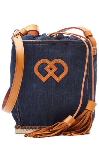 satchel denim drawstring leather blue bag