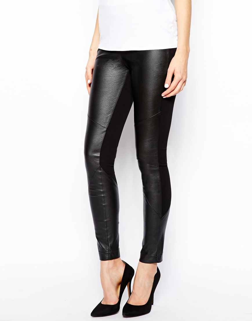 Karen Millen Roma Leggings in Leather Look at asos.com