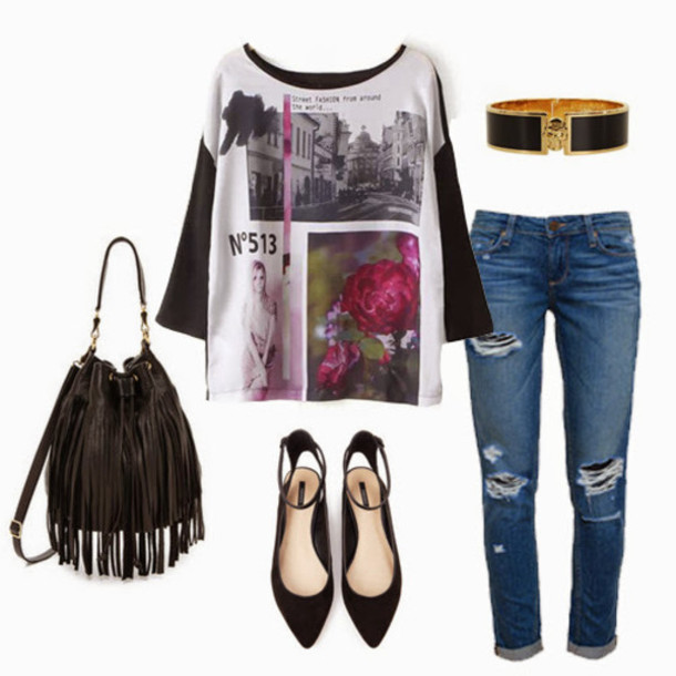 shirt graphic tee graphic tee black white black and white black and white shirt bag belt jeans shoes jewels