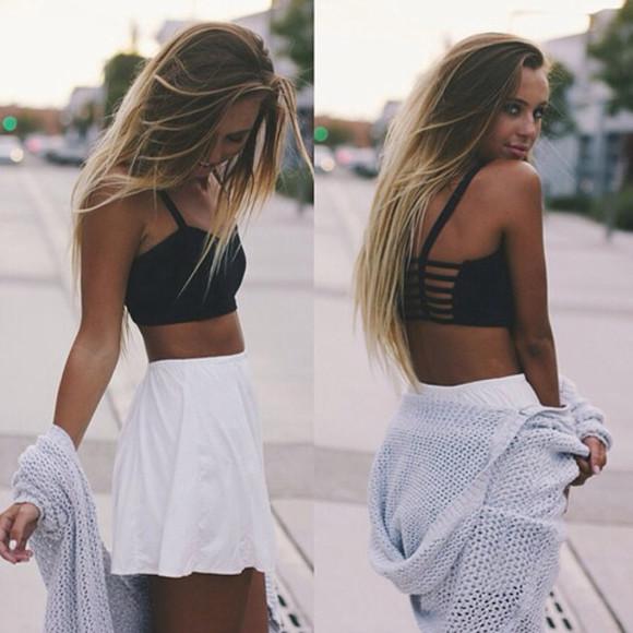 skirt top white skirt black top cardigan