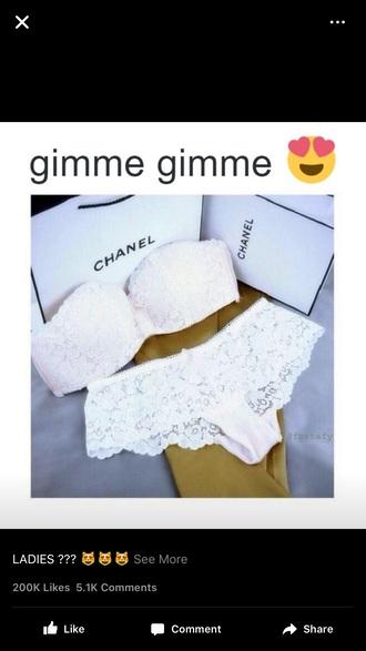 underwear lace lingerie white bra lace bralette lace bra white lace cute stylish chanel