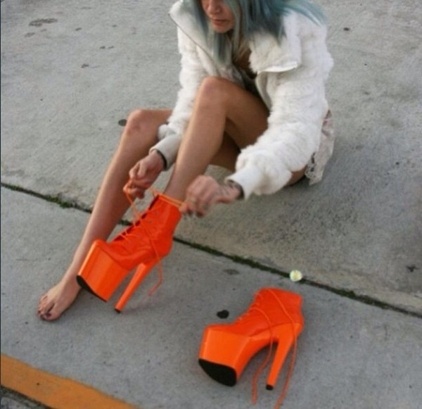 shoes bright orange platform shoes high heels big heel