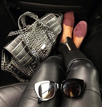 bag black and white leather pants purple sandals shoes jeans sunglasses