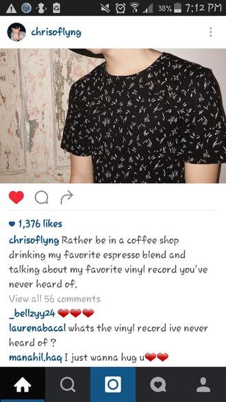 shirt black t-shirt tumblr outfit youtuber mens t-shirt cute