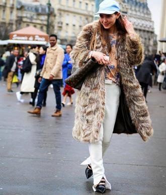 coat tumblr fur faux fur coat fur coat pants white pants shoes black shoes streetstyle cap
