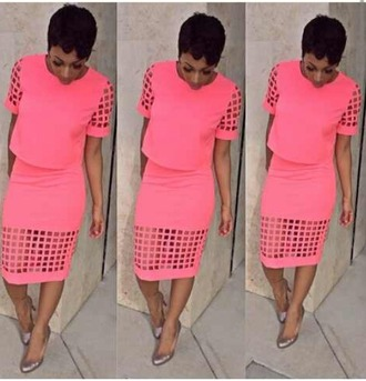 dress pink two piece cut-out dress skirt
