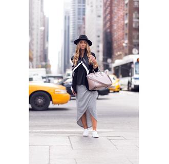 lisa olsson blogger hat grey skirt handbag black hat
