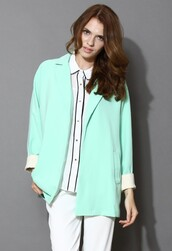 chicwish,mint,macaron,oversized,coat