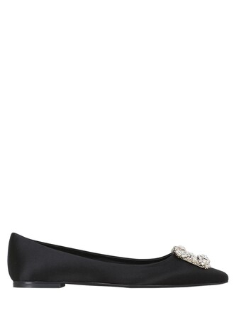 flats satin black shoes
