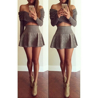 Chic women's long sleeve off shoulder shirt and houndstooth skirt