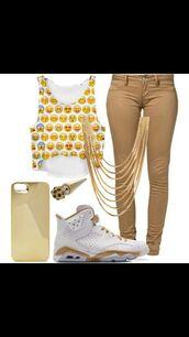 t-shirt,pants,emoji print,jumpsuit,jeans,jordans,necklace,emoji shirt,crop tops,gold,casual,formal