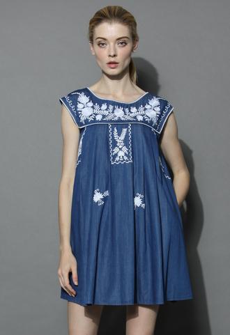 dress babydoll denim dress with marigold embroidery chicwish summer dress denim dress dolly dress chicwish.com boho dolly dress