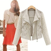 jacket,lace,sexy,fall outfits,skirt,orange,white,crochet,off-white