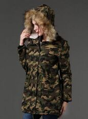 coat,parka,hooded parka,drawstring,zip front,winter coat,camouflage,camo jacket,faux fur hooded coat,www.ustrendy.com