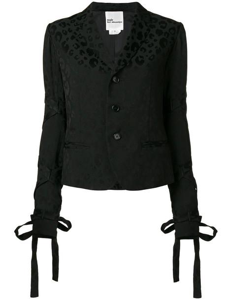 blazer women animal black wool jacket
