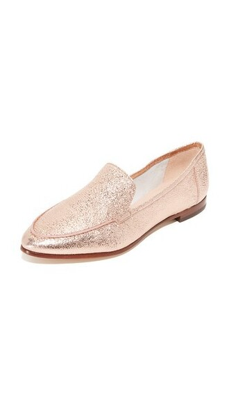 rose gold rose loafers gold shoes