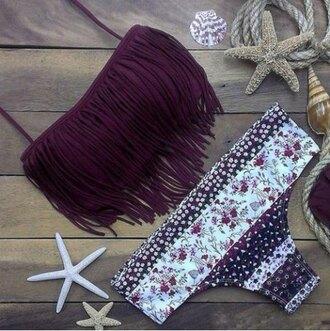 swimwear bikini bikini top purple fringed bag