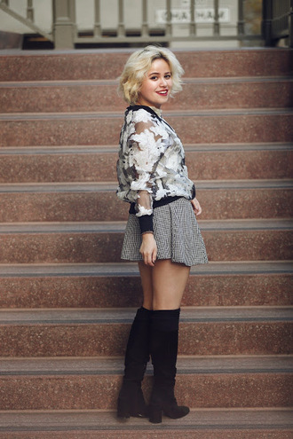 see through blogger broke hell jumper vichy skater skirt