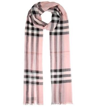 scarf silk scarf silk wool pink