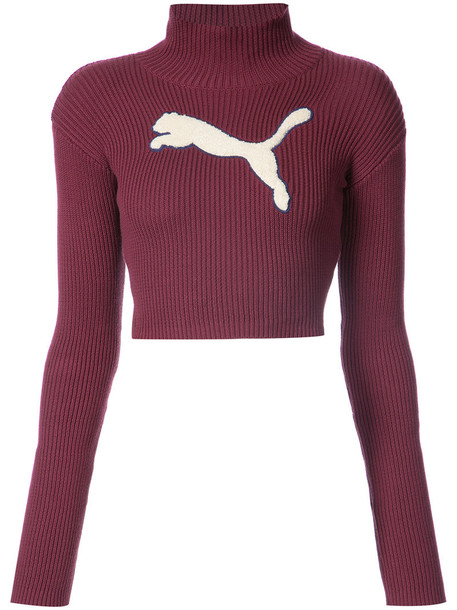 Fenty x Puma jumper turtleneck cropped women cotton red sweater
