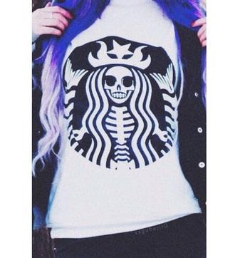 shirt starbucks coffee black purple skull grunge